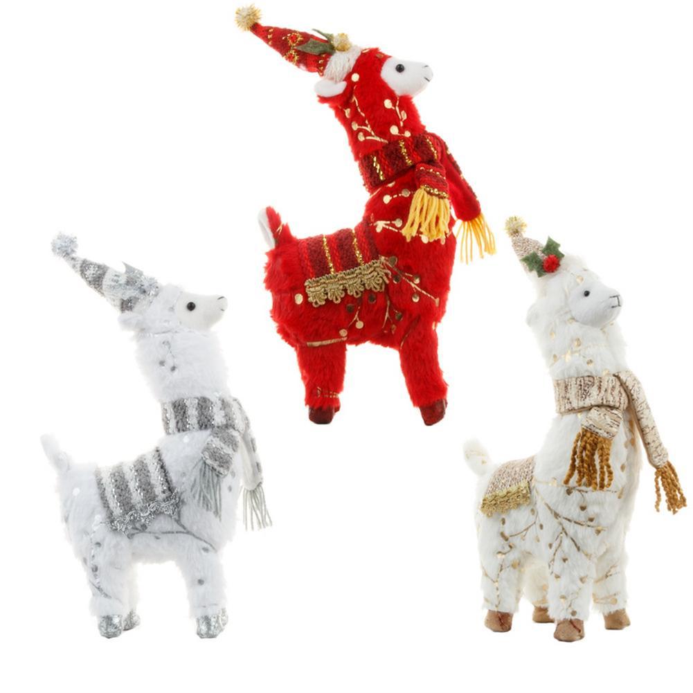 Christmas Plush Alpaca Doll Lifelike Christmas Deer Doll Gifts Plush Alpaca Doll Cute Ornament For Home Decor Christmas Gifts недорого