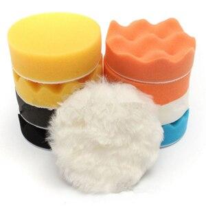 Image 5 - 3 дюймовый диск автомобильного полировщика 11 шт./компл. самоклеящиеся полировка воском губки шерстяное колесо полировальные подложки для полировальная машинка для автомобилей с эксцентриковым, адаптер для дрели