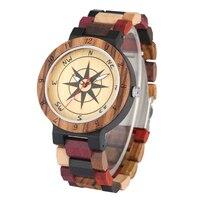 Quartz Wooden Watches Male Stylish Large Dial Wood Watch for Men Colorful Strap Quartz Wristwatch Gift Clock herren uhren
