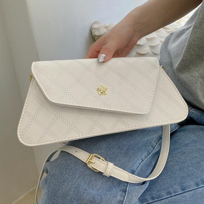 Diamond Lattice Women's Shoulder Bag Luxury Leather Crossbody Bag Summer White Quilted Handbags Ladie Small Flap Messenger Bags