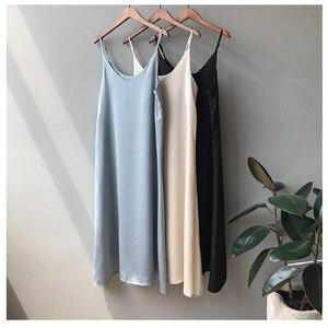 Spaghetti Sukienka платье  Cottagecore Dress Sleeveless Strap Satin Maxi Dresses Robes Long  for Women 2020 ete 2021 Sundress