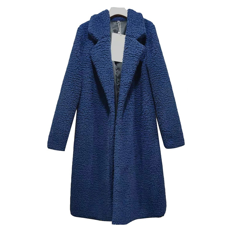 Chaqueta de punto de pelo de cordero de alta calidad para mujer de invierno de KAYOULAI, chaqueta de lujo de manga larga, abrigo holgado, cálido traje de talla grande