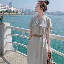 Long Dress 2021 Summer New Slim Fit Slimming Graceful and Fashionable Suit Collar with Belt