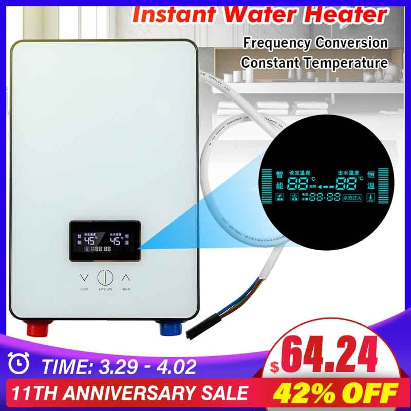 6500W Instant Water Heater 220V Bathroom Tankless Electric Water Heater Self-checking LCD Digital Display White Thermostat