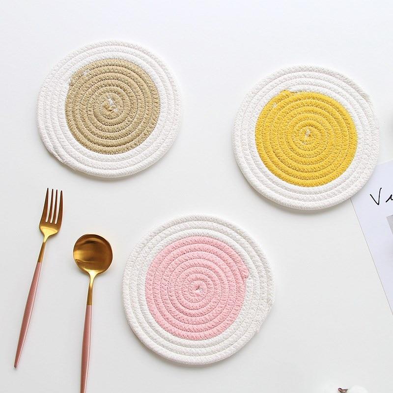 1 pçs algodão corda redonda placemats mão tecido mesa esteira tigela almofadas pote titular almofadas de isolamento utensílios de mesa bebida coaster cozinha decoração