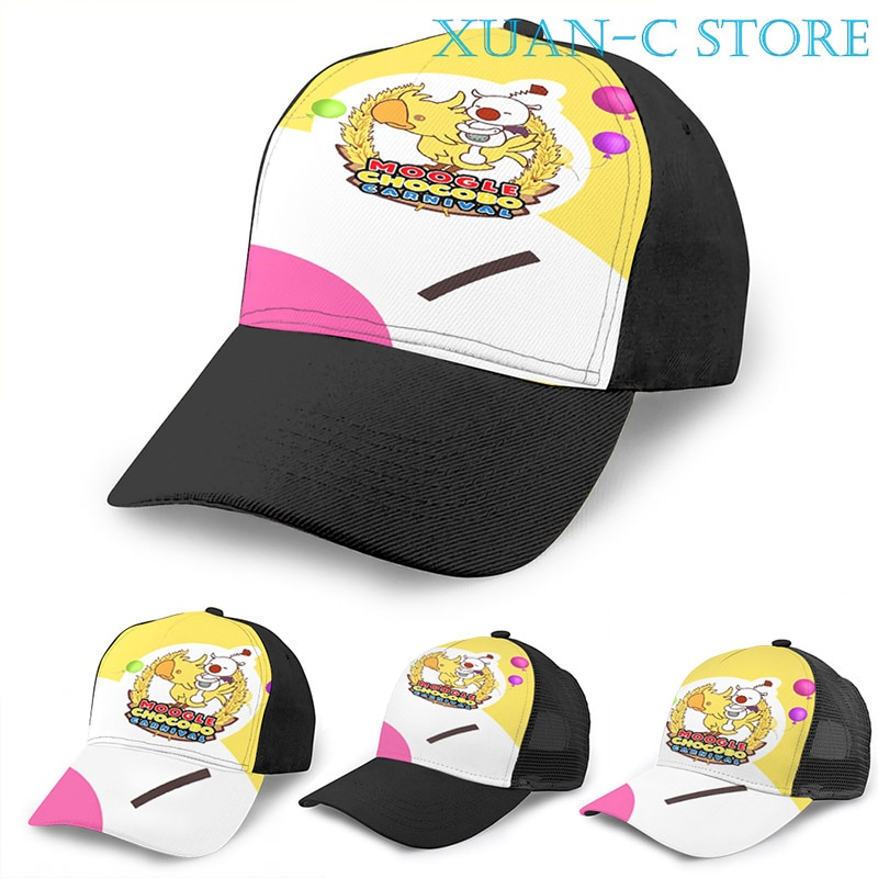 Moogle Chocobo carnaval baloncesto gorra hombres mujeres moda todo estampado negro Unisex adulto sombrero