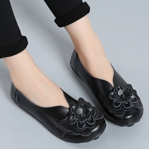 Women Flats 2020 New Fashion Ballet Shoes Moccasins Women Shoes Genuine Leather Loafers Non-slip Ladies Shoes Women Mom Footwear