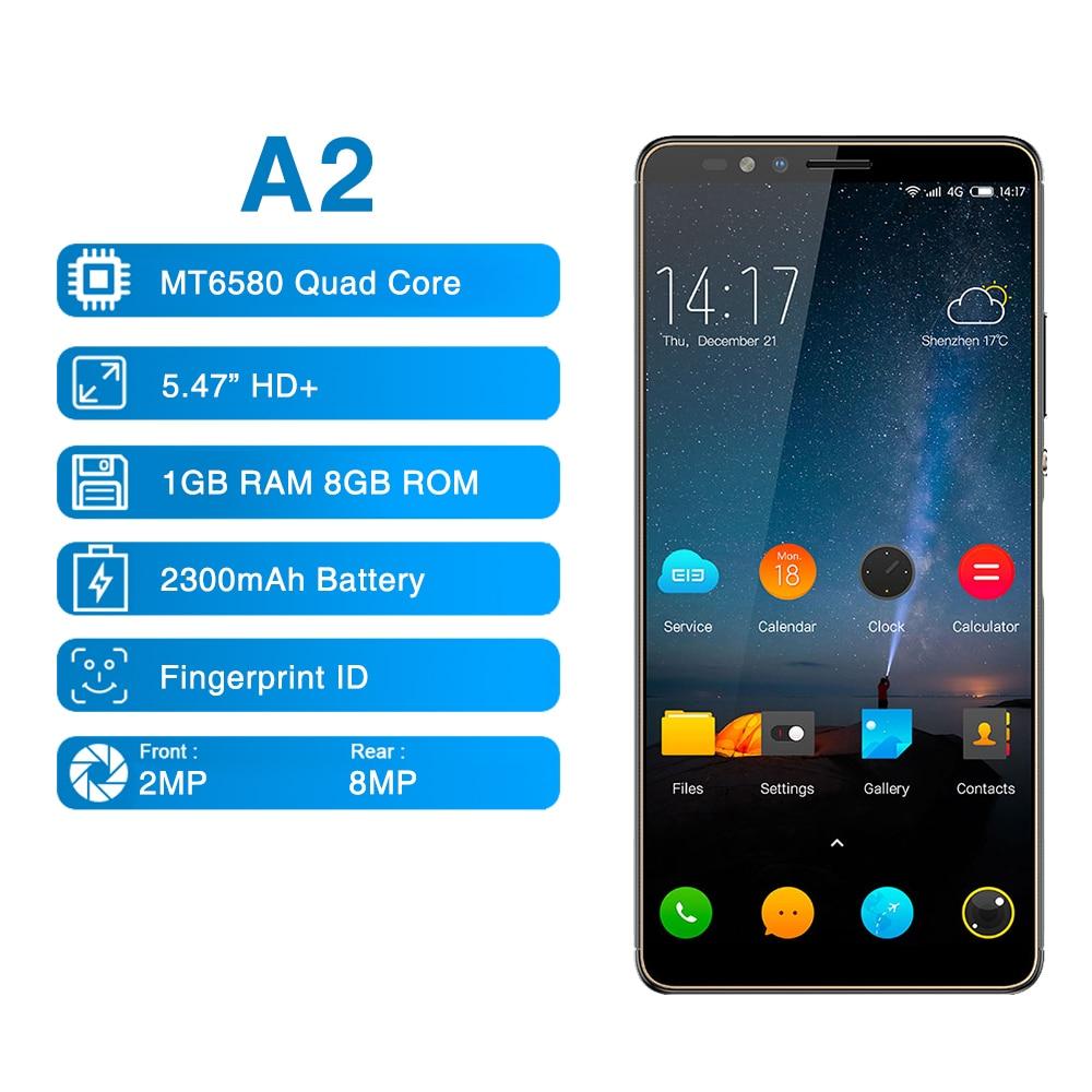 Elephone A2 5,47 pulgadas 189 Pantalla Completa teléfono móvil Android 8,1 MT6580 Quad Core huellas dactilares laterales Global Smartphone
