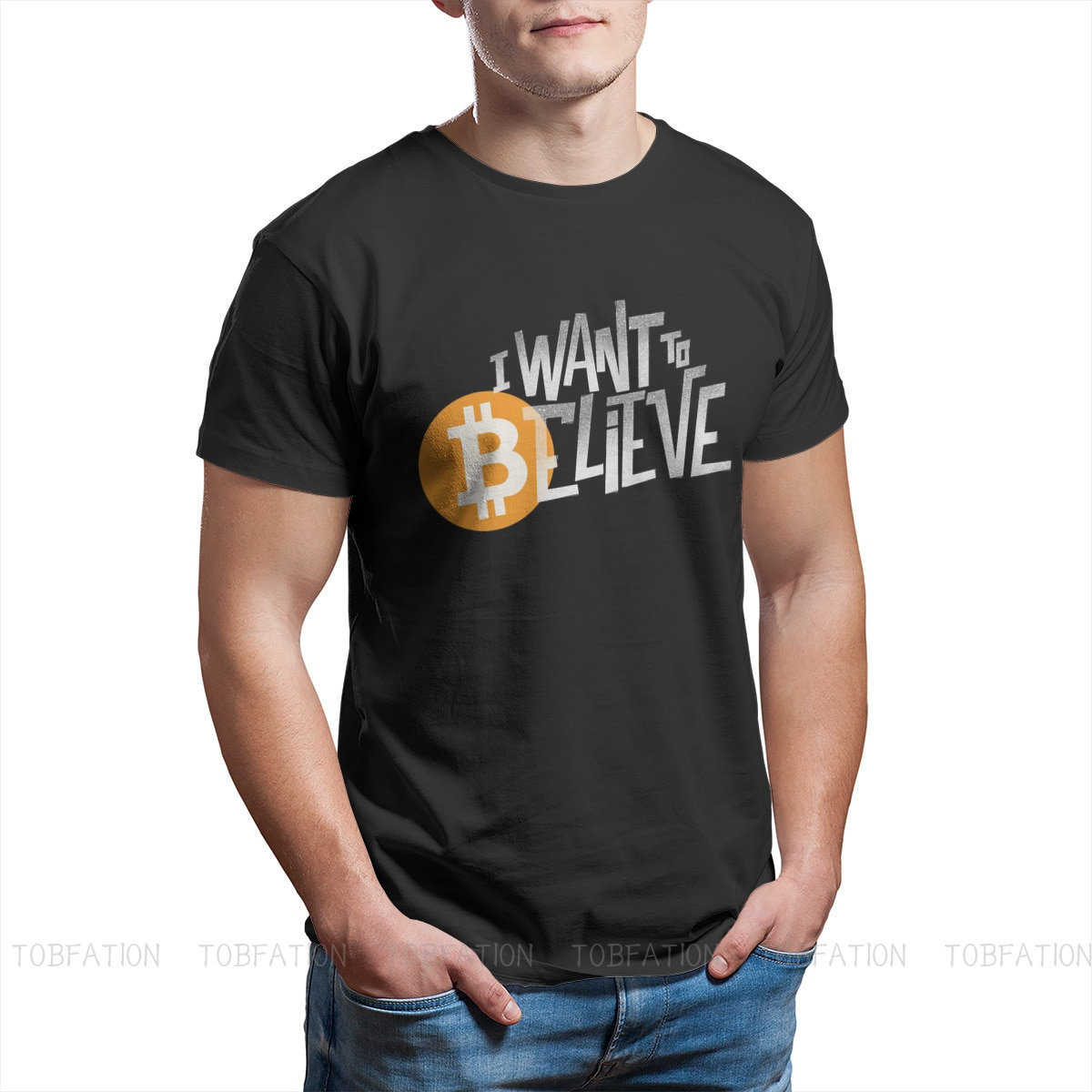 Bitcoin Cryptocurrency Miners Meme TShirt for Men I Want to Believe Black Basic Summer Tee T Shirt Novelty New Design Loose