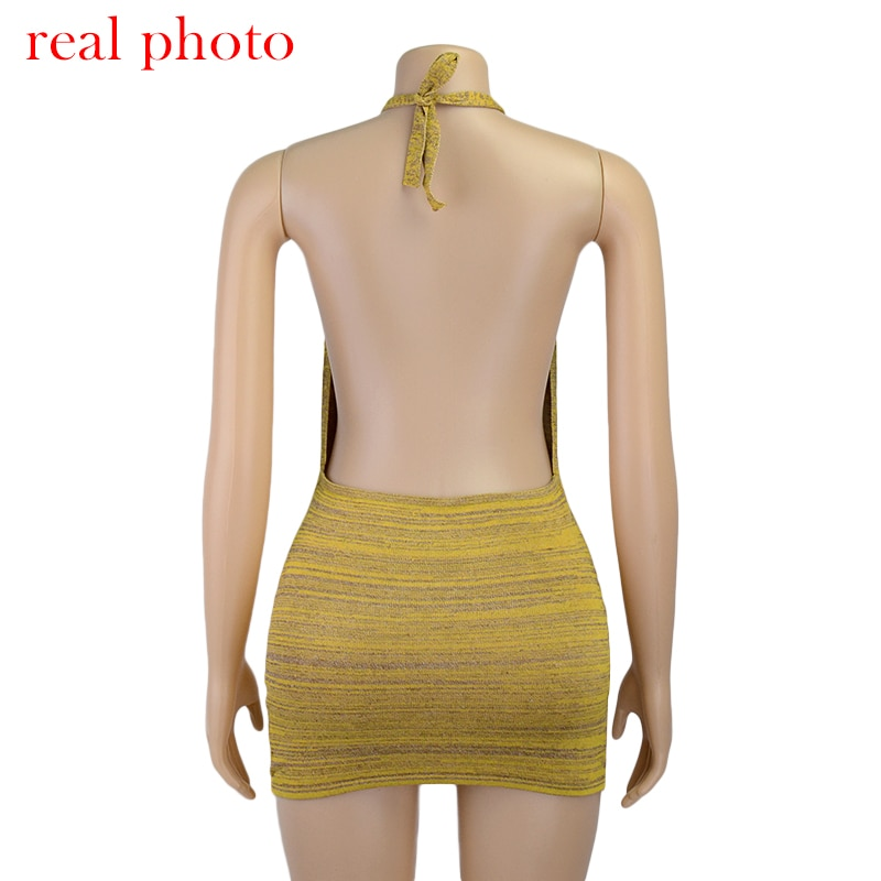 Sexy Backless Mini Bodycon Skinny Dresses Club Party Sleeveless Knitted - dresses