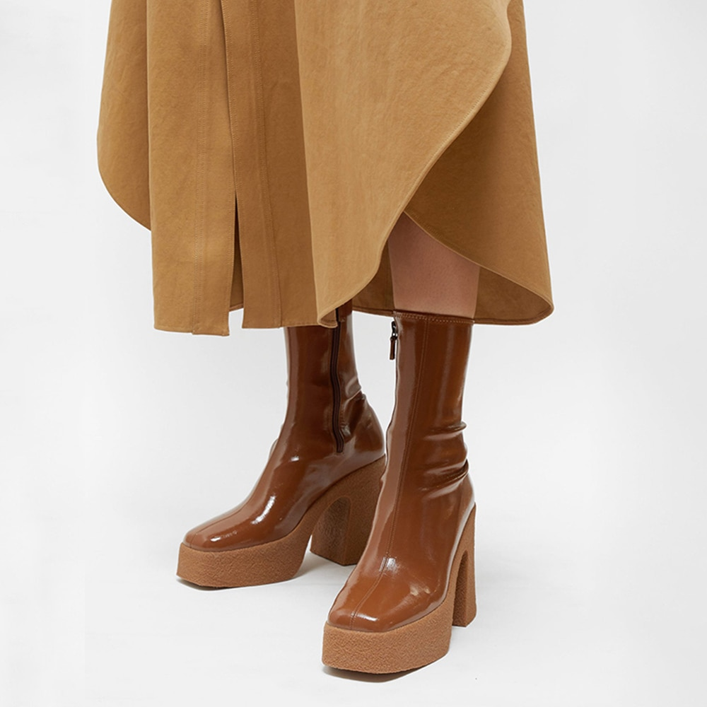 MUMANI امرأة حذاء من الجلد كعب مربع الشتاء الأحذية الجلدية أحذية السيدات الموضة عالية تمتد الكعوب الأحذية منصة الأحذية الحديثة