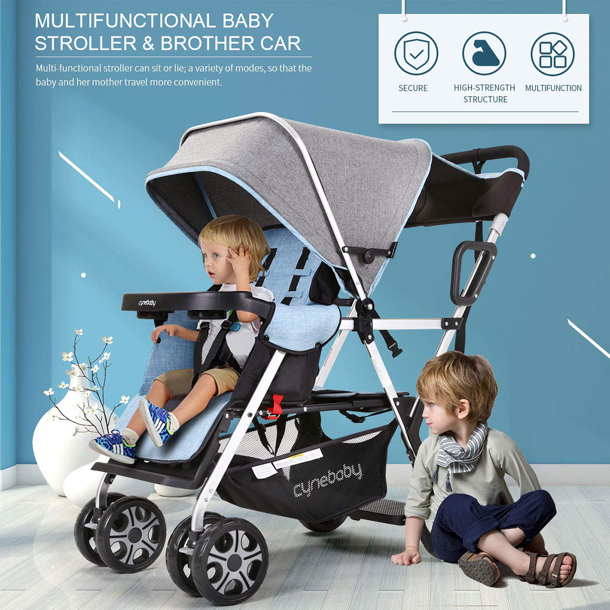 Baby Stroller Twins Double