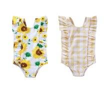 2020 Summer Swimsuit 0-5Y Infant Baby Girls One Piece Bikini Ruffles Sleeve Sunflowers Plaid Print Jumpsuits Swimwear