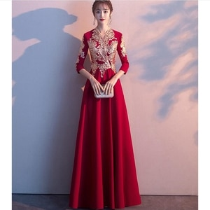 Evening Dress 2020 Gold Embroidery Lace Evening Dresses Plus Size V-neck Formal Gown  ball gown dress chinese traditional Qipao