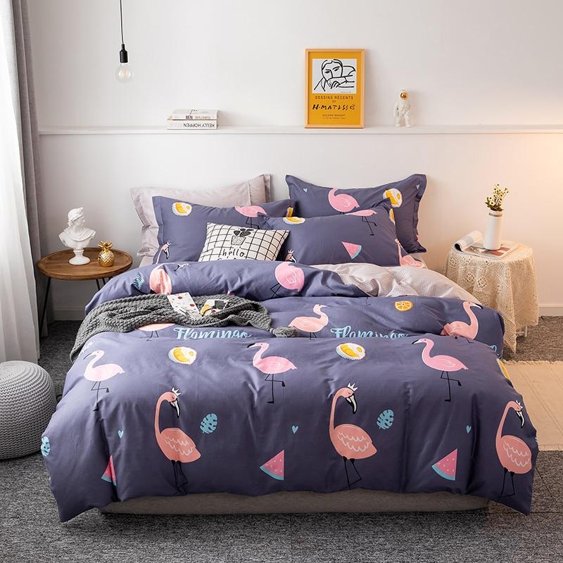 أربع قطع الفراش بسيط القطن غطاء سرير مزدوج المنزلية غطاء لحاف سماكة الرملي عنبر غطاء سرير فلامنغو الأزرق