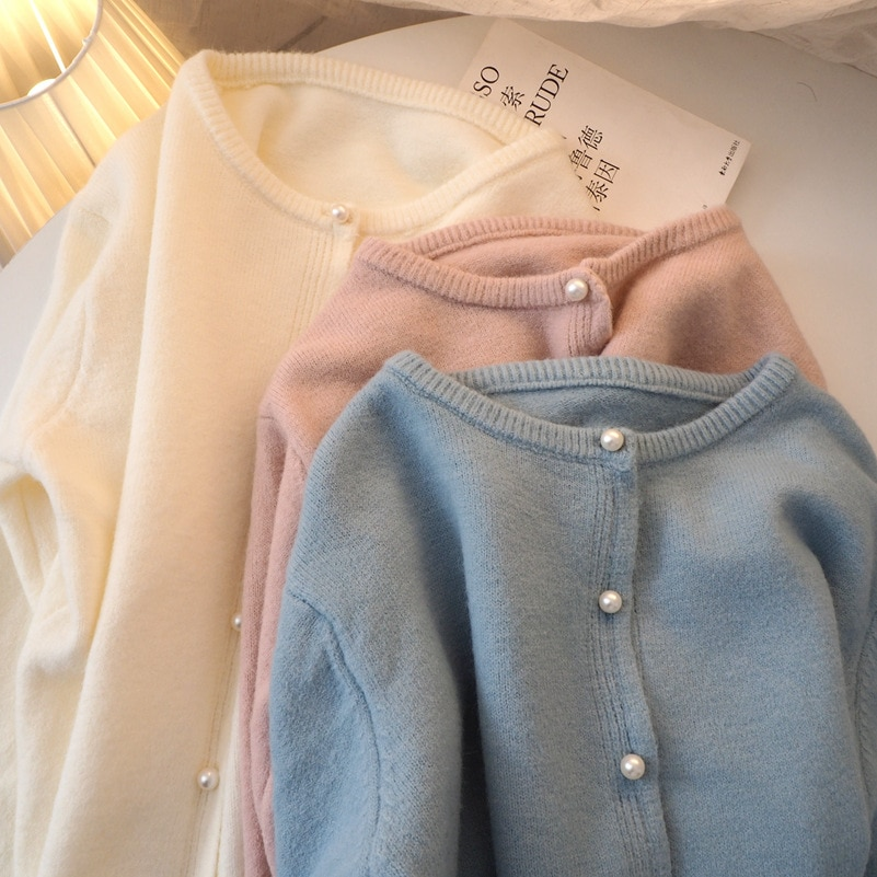 2021 Spring and Autumn New Pearl Button Sweater Coat Women's Loose Wear Knitted Cardigan Sweet Temperament Loose Coat