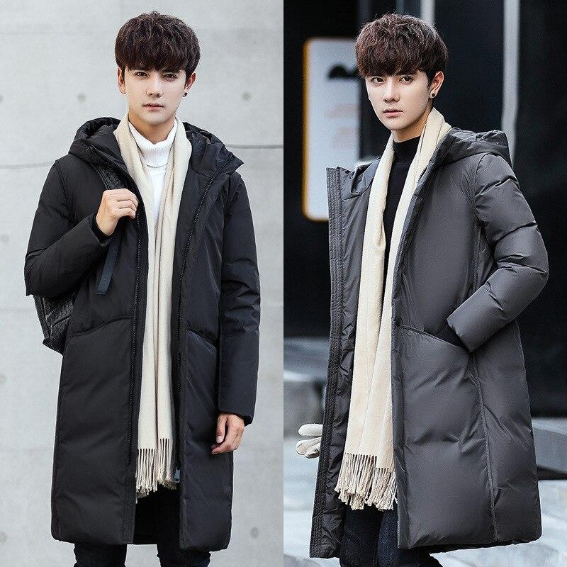 Мужская длинная куртка на утином пуху с капюшоном, Мужская Толстая зимняя куртка-пуховик, Мужская модная длинная верхняя одежда, сохраняюща...