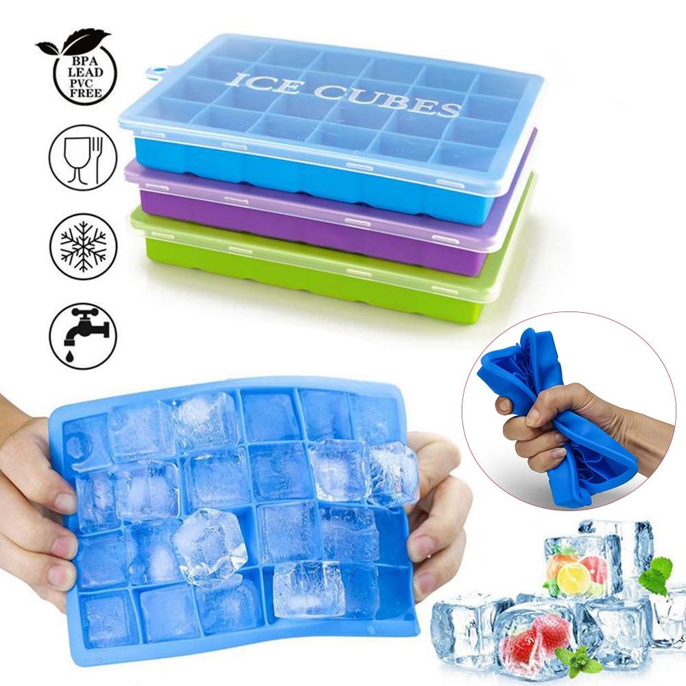 Cubitos de hielo de silicona con tapa, bandeja de hielo ecológica, moldes para helado de frutas pequeñas, accesorios de cocina dropshipping 24 rejillas