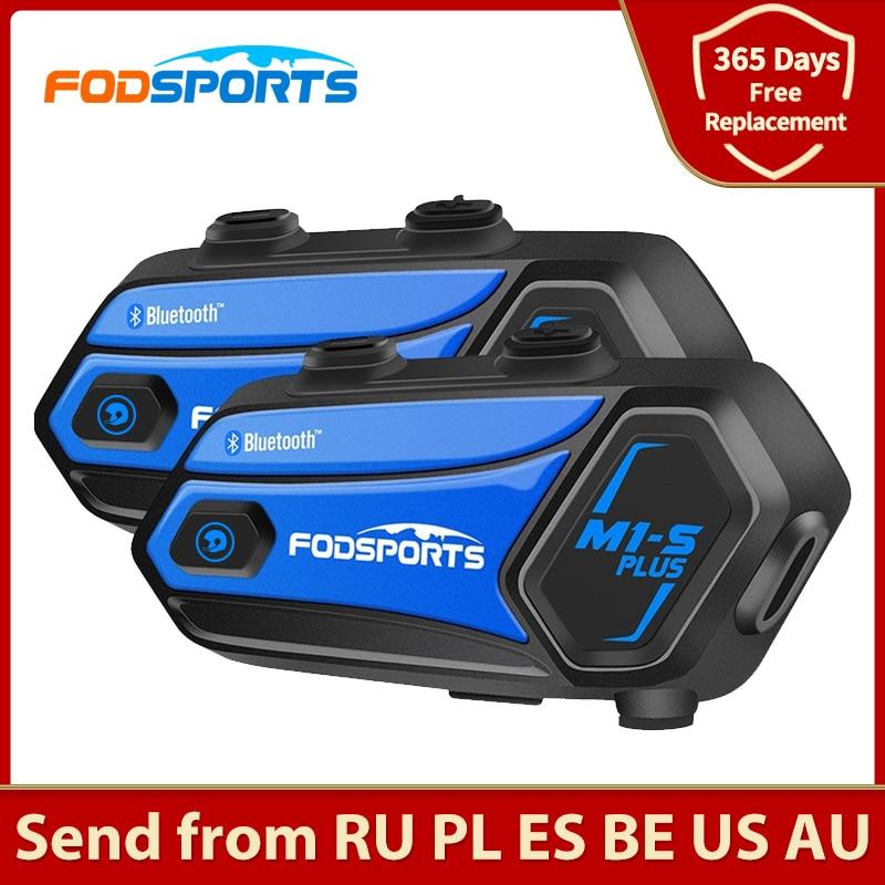 Fodsports 2 قطعة M1-S زائد خوذة إنترفون دراجة نارية سماعة رأس بخاصية البلوتوث إنترفون لاسلكي 8 المتسابق BT البيني FM تقاسم الموسيقى