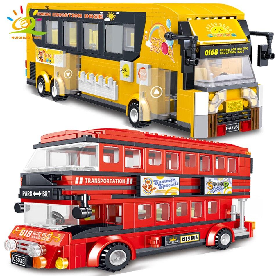 HUIQIBAO, autobús de bloques de construcción turístico de dos pisos, coche urbano, camión de bloques, juguete de construcción para niños, regalo para amigos