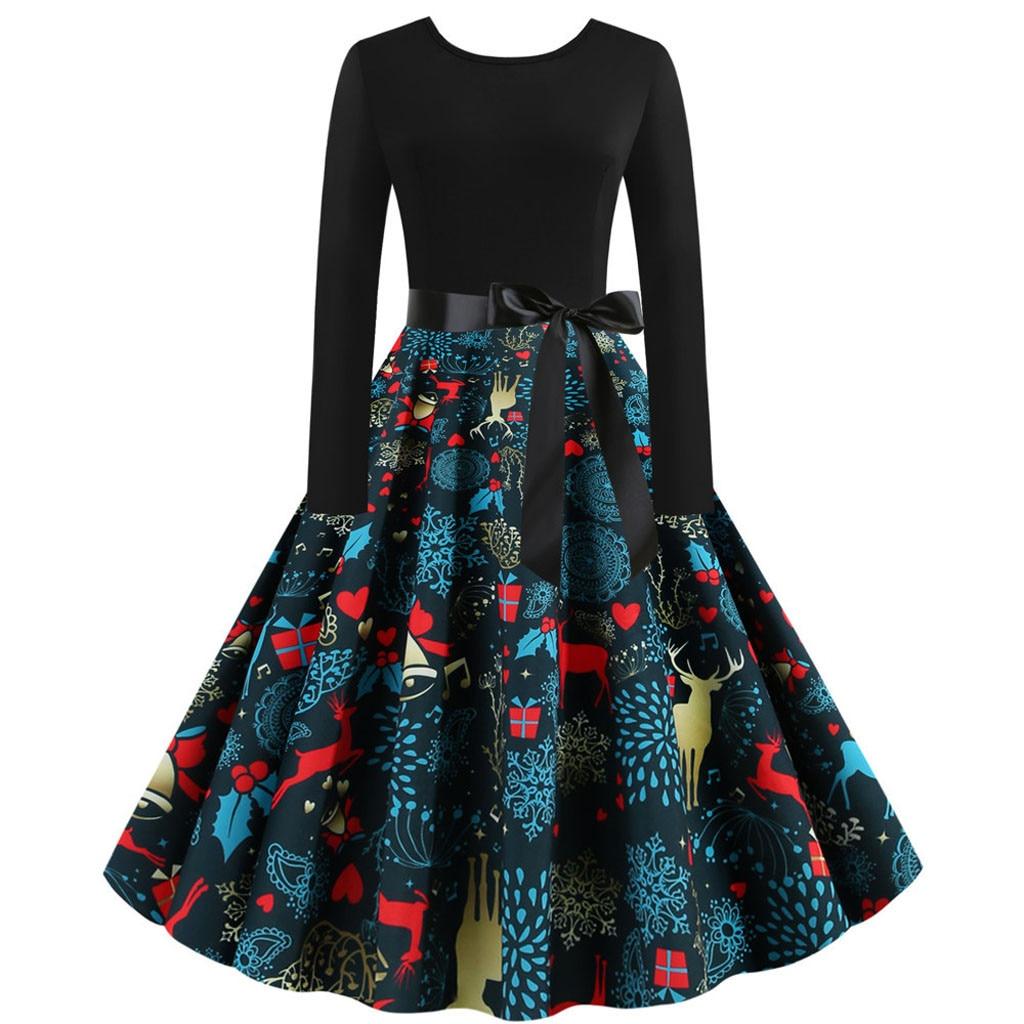Рождественское платье для женщин, винтажное, с принтом лося, с длинным рукавом, 1950 s, домохозяйка, вечерние платья, элегантное, с высокой талией, Сарафан vestidos