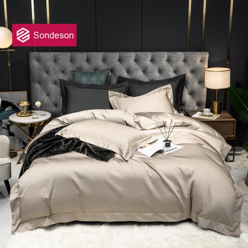 Sondeson kadın Premium % 100% pamuk şampanya altın nevresim takımı uzun elyaf pamuk 5 yıldızlı otel nevresim düz levha yastık