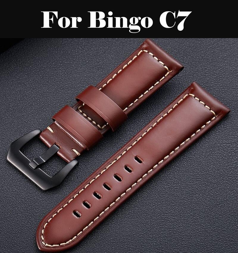 Watchbands 22mm 24mm Dark Brown Women Men Fashion Genuine Leather Watch Band Strap Belt With Pin Buckle For Bingo C7