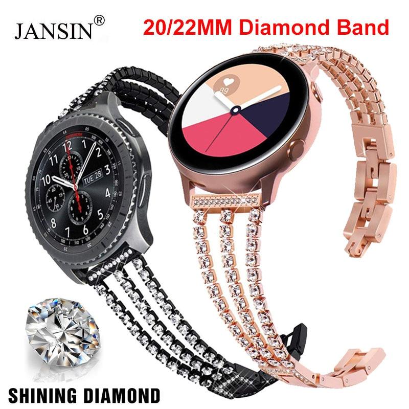 Faixa de diamante para samsung galaxy relógio 46mm 42mm ativo 2 40 44mm engrenagem s2 s3 gt2 46mm cinta substituição aço inoxidável 20mm 22mm