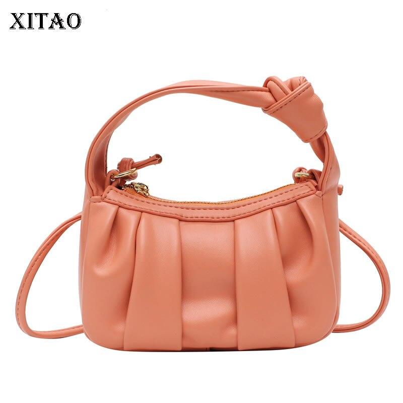 حقائب كتف كلاسيكية من XITAO أنيقة للنساء بلون سادة موضة خريف 2021 حقائب أنيقة بطيات على الطراز الغربي GWJ0442