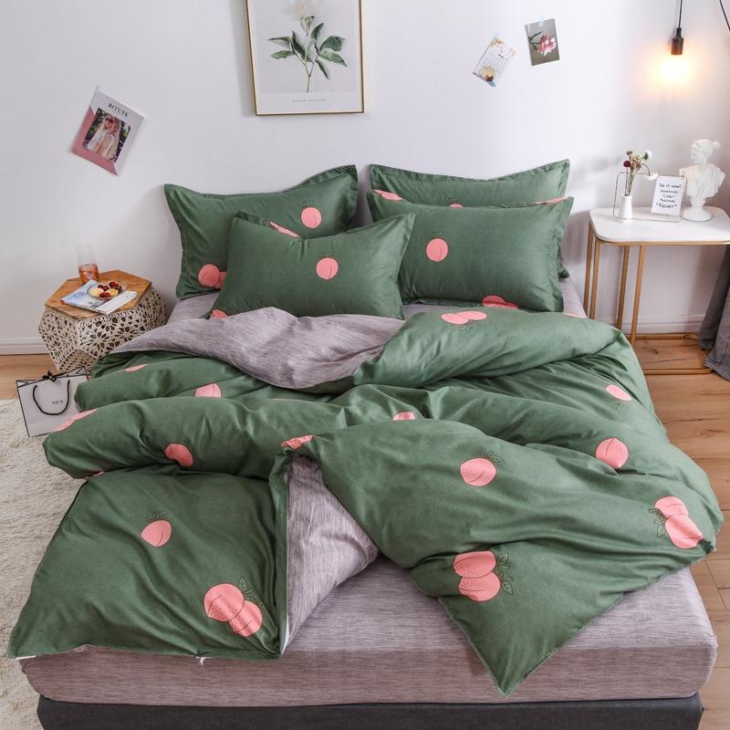 الخوخ الفاكهة الأخضر رمادي نمط طقم ملاءة سرير طفل حاف الغطاء الكبار الطفل ملاءات السرير و سادات المعزي طقم سرير 61070