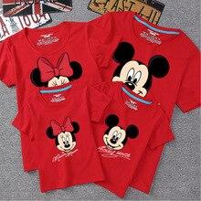 Disney 1 pièces dessin animé Mickey Minnie papa maman bébé T-Shirt vêtements pour la famille correspondant tenues vêtements été coton coloré chemise
