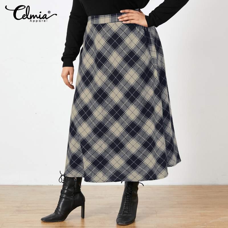 Celmia Fashion Checked Long Skirt Plus Size Vintage Women Plaid Maxi Skirts 2021 Autumn Office Pocket Casual Loose Party Skirt