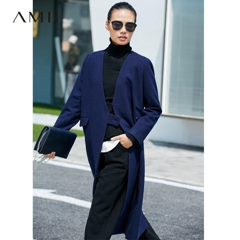 Amii invierno mujer moda abrigo de lana mujer Vintage cuello pico un solo botón sólido Oficina señora larga chaqueta de lana 11767517