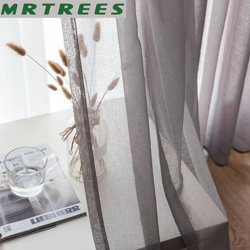 Blanco sólido gris tul ventana cortinas para sala de estar dormitorio moderno de Organza Voile cortinas terminado cortinas Panel