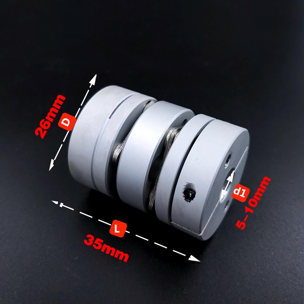Acoplamiento de doble diafragma D26L35 de aleación de aluminio, conector elástico D26mm L35mm, tornillo de bola, servo a pasos, codificador de motor de ordenador
