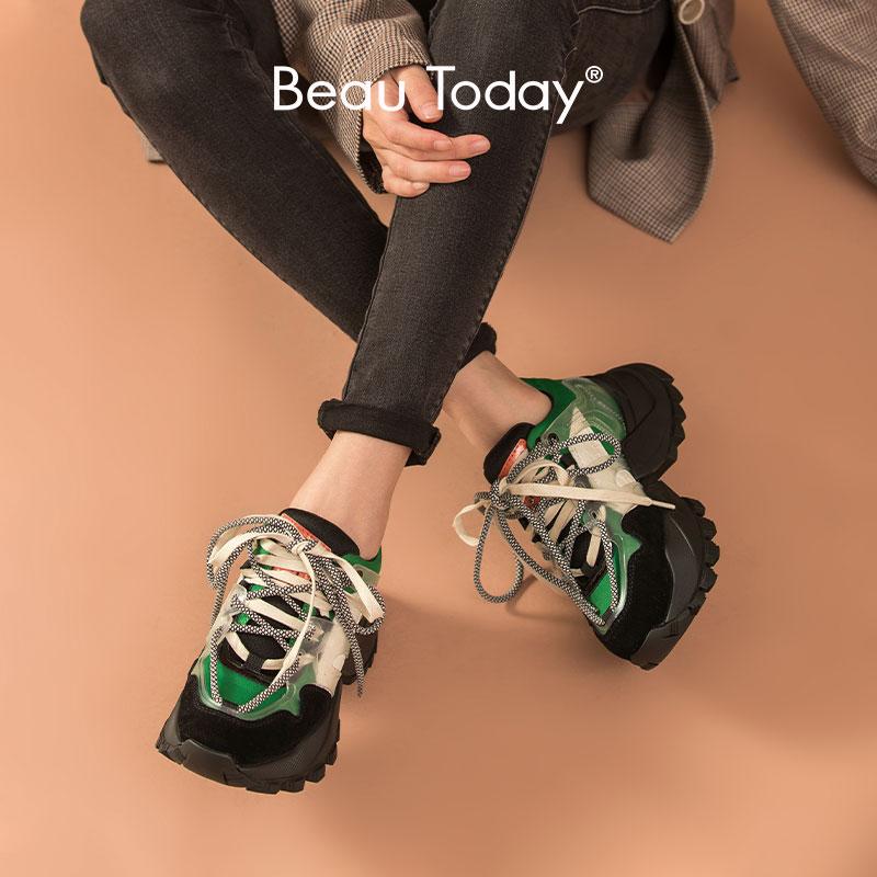 BeauToday مكتنزة أحذية رياضية النساء الجلود ستوكات خليط مختلط الألوان منصة جولة تو الدانتيل متابعة السيدات الأحذية اليدوية 29330