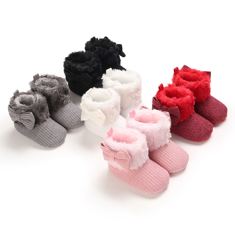 Brand Infant Booties Toddler Baby Girls Shoes Soft Sole Booty Winter Warm Snow Boots Bows Shoes Newb
