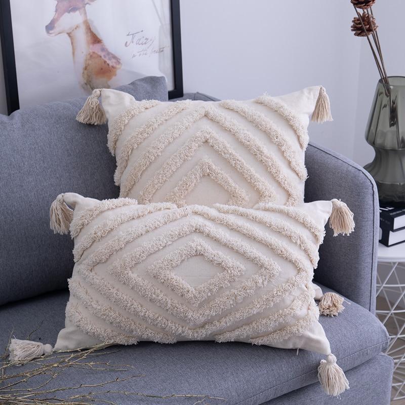 AliExpress - Tassels Cushion Cover Beige Boho Pillowcase with Tassels Tufted Home Decor Handmade Woven Pillowcase Sofa Living Room Decoration