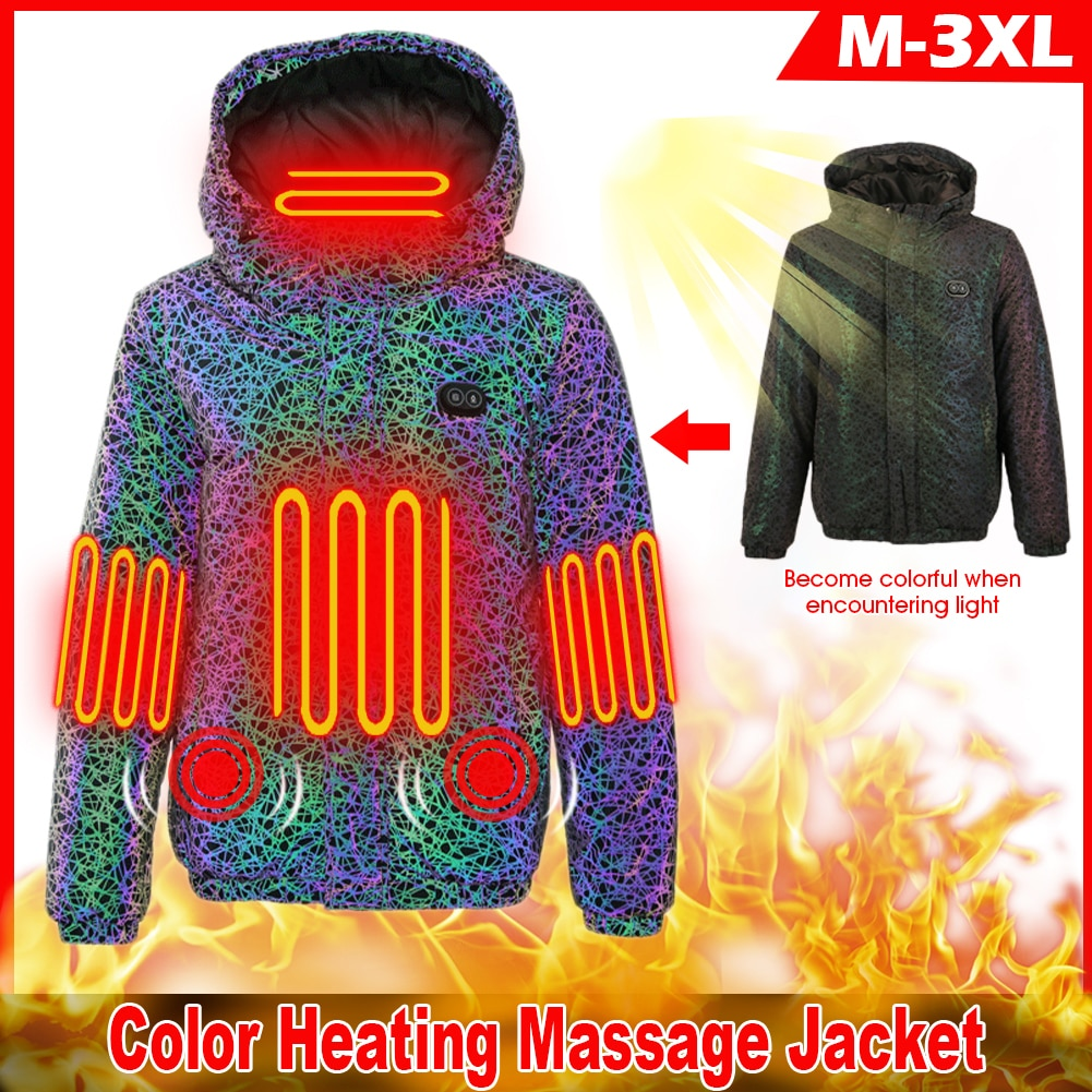 Winter Heating Massage Jackets For Men Thermal Hooded Jacket Camouflage Suit Coat For Outdoor Activity Hiking Cycling Running