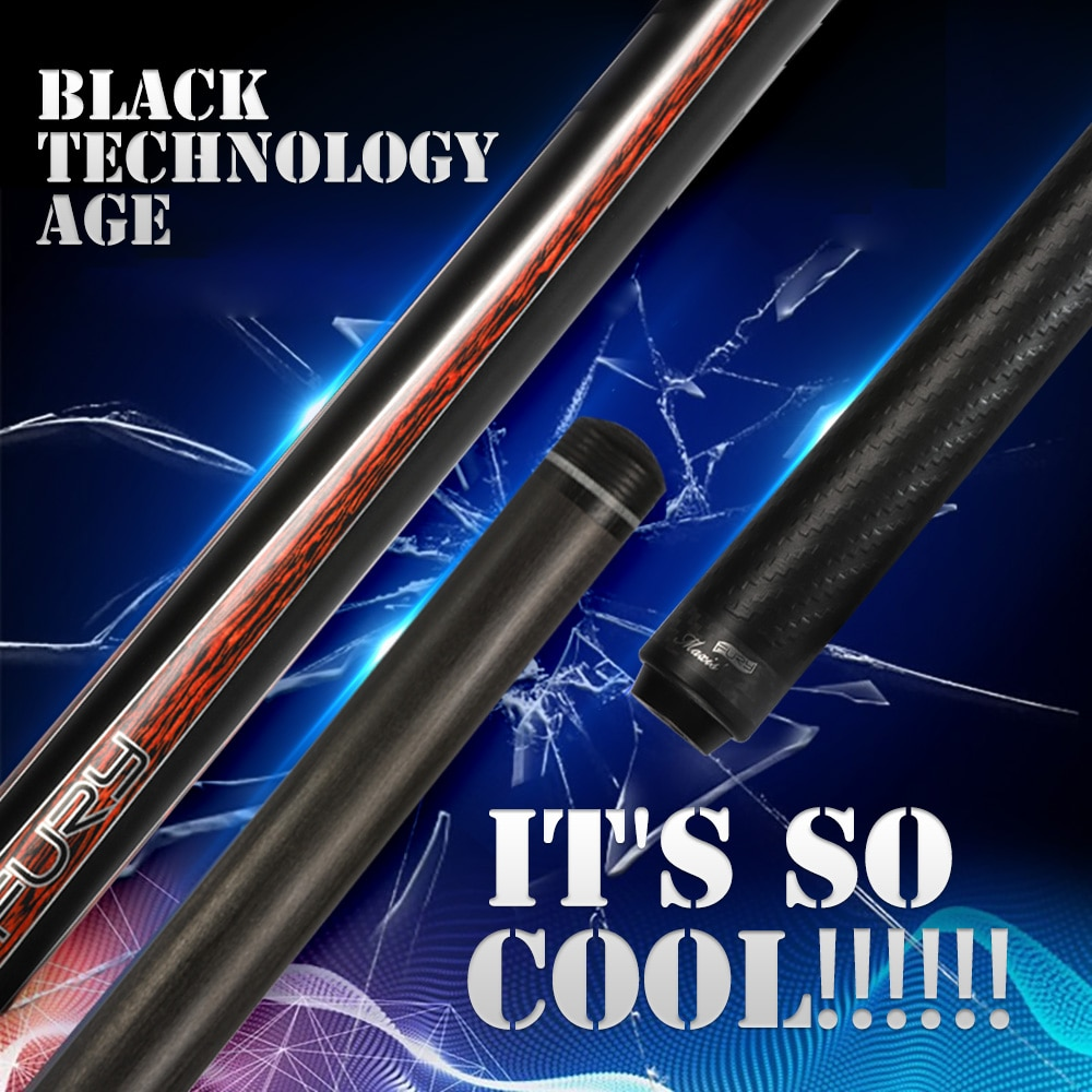 Offizielle FURY CFP Billard Schwarz Technologie Pool Queue 12.5/12,8mm Kamui Spitze PAS Carbon Wellen Professionelle Billar stick Kit