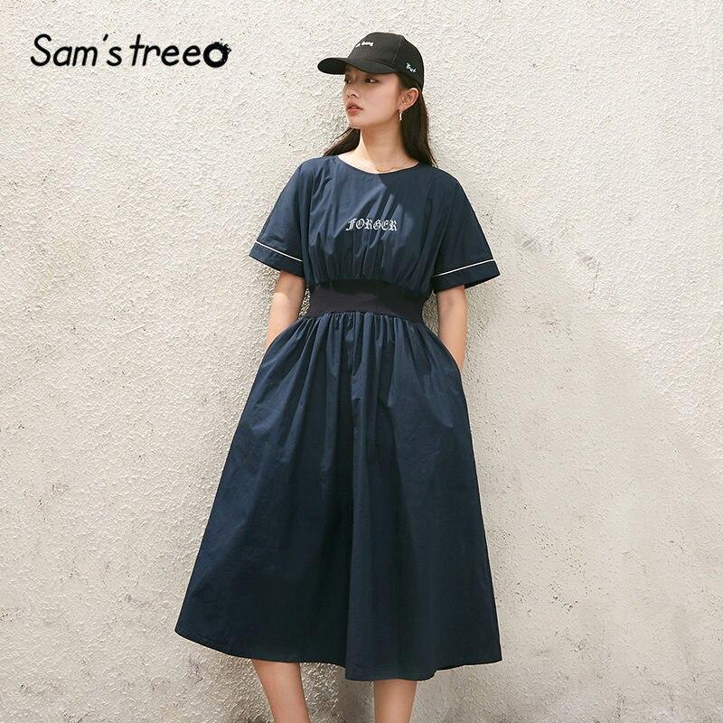 SAM'S TREE Dark Blue Solid Elastic Waist Casual Shirt Dress Women 2020 Summer New Elegant Half Sleeve Ladies Korean Daily Dress