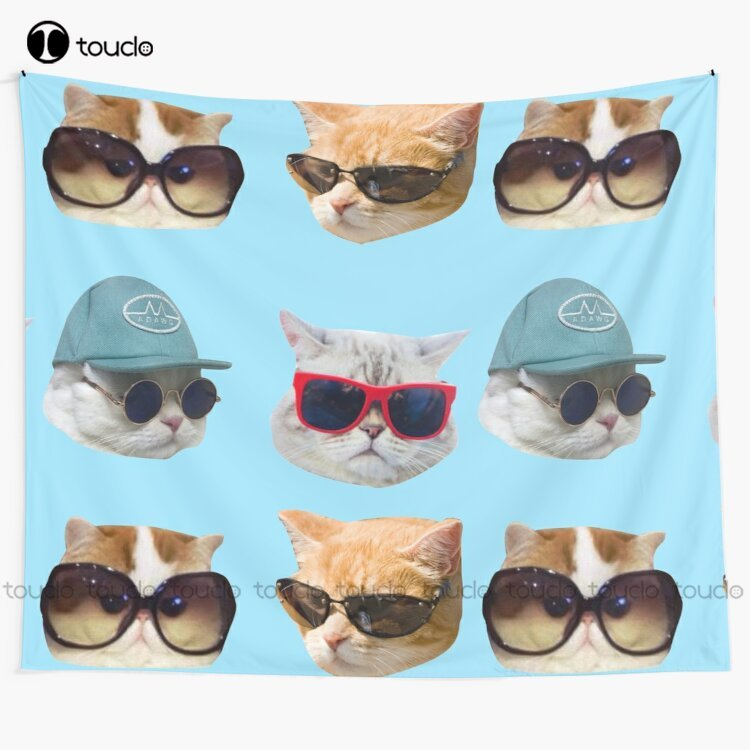 New Cats With Glasses Stickers Pack Tapestry Tapestry Cool Tapestry Wall Hanging For Living Room Bedroom Dorm Room Home Decor