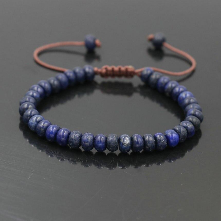 Pulsera minimalista con piedra Natural de lapislázuli para hombres, pulsera con cuentas, joyería para mujeres, niñas, parejas de la suerte, pulsera de Chakra, regalo