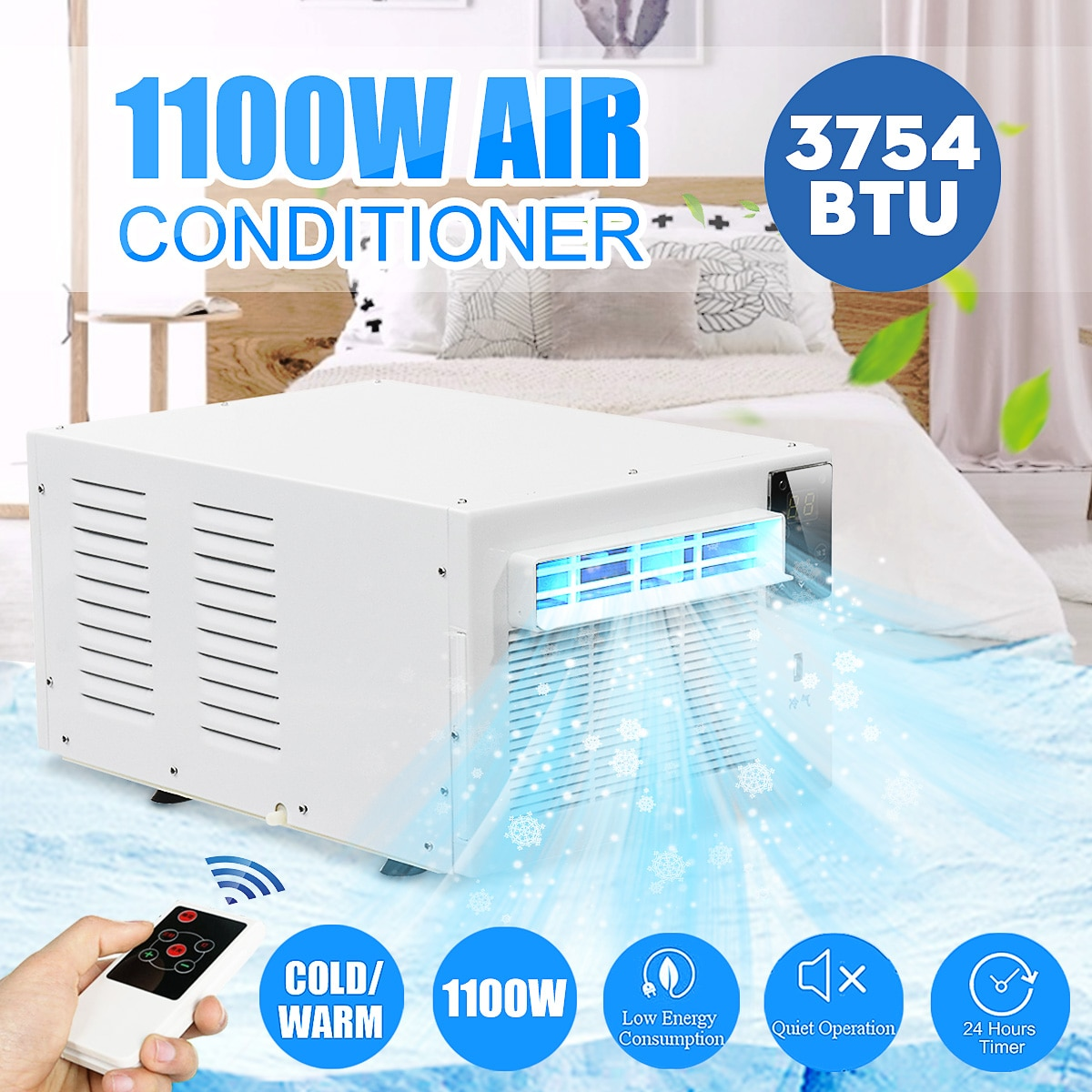 1100W Desktop air conditioner 220V/AC Cold/Heat dual use 24-hour timer With remote control LED control panel Pet air conditione