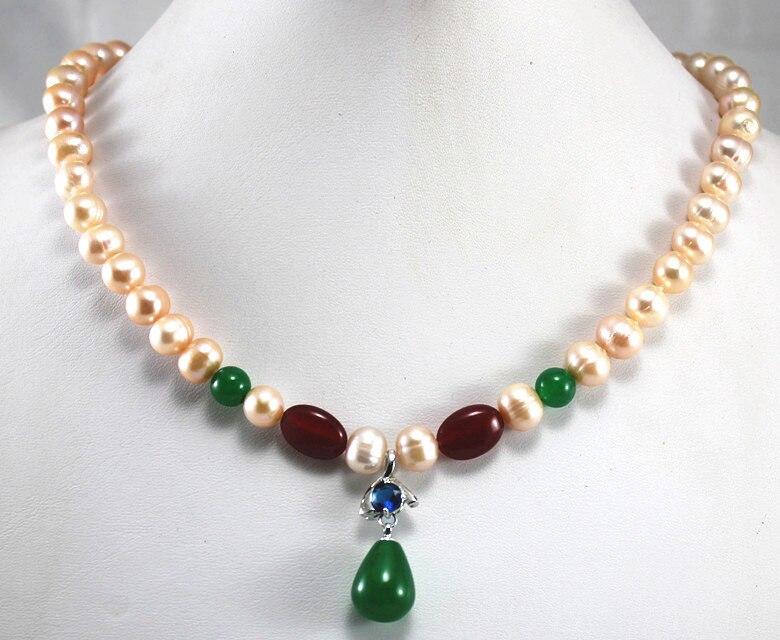 Venda por atacado/varejo 8mm pink pearl & colar vermelho + verde Jade pingente de cristal