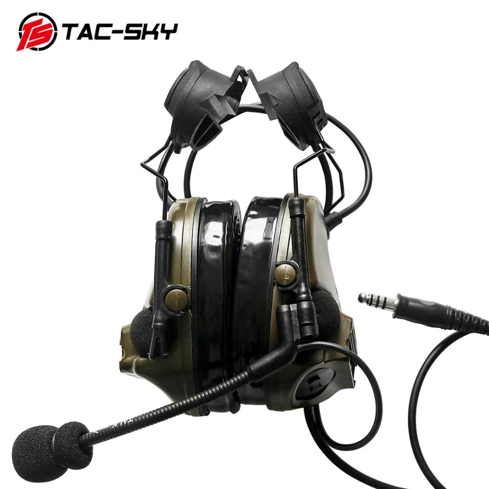 TAC-SKY COMTAC III helmet bracket silicone earmuff version outdoor hunting sports noise reduction pickup tactical headset FG