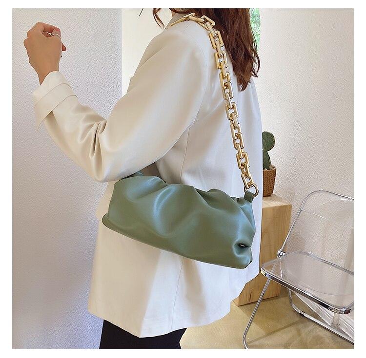 2021 Day Clutch Thick Gold Chains Dumpling Clip Purse Bag Women Cloud Underarm Shoulder Bag Pleated