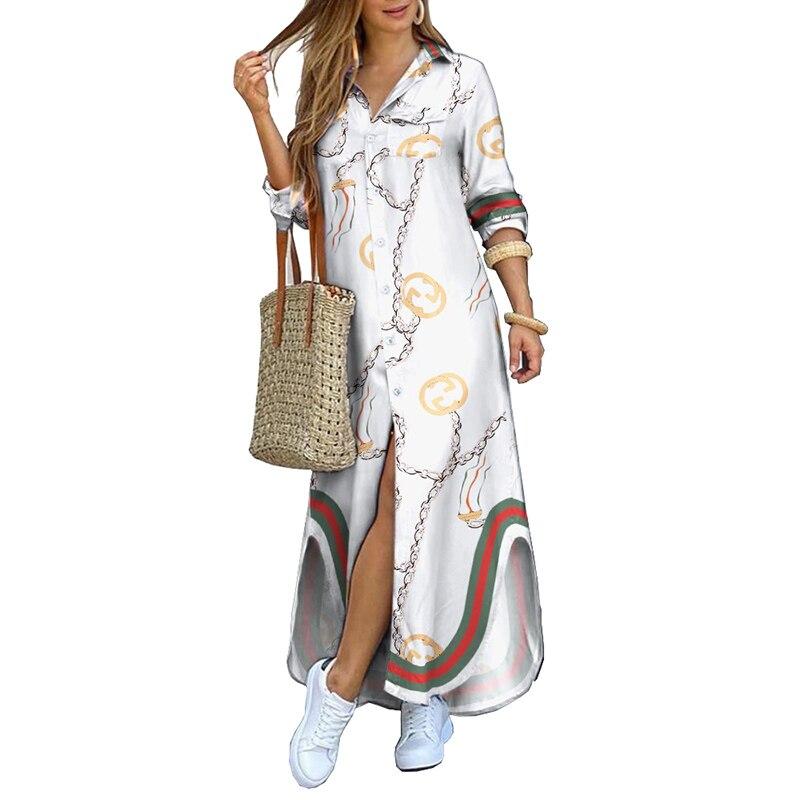 MOVOKAKA 2021 White Long Dress Women Elegant Casual Plus Size Button Robe Long Sleeve Dresses Woman