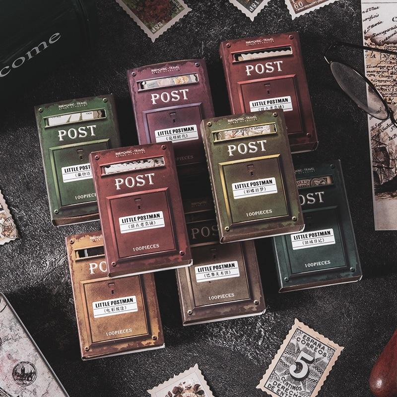 journey-namm-100pcs-francobolli-vintage-carta-adesiva-per-telefono-deco-forniture-di-cancelleria-retro-adesivi-per-etichette-di-giornale-spazzatura-scrapbooking