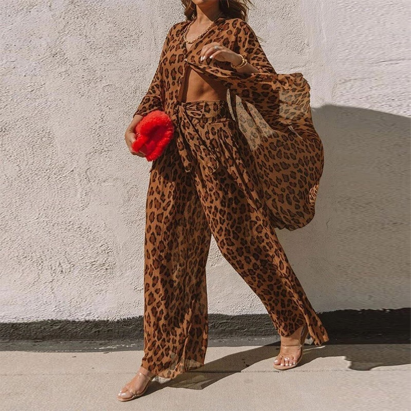 أنيقة النساء ليوبارد طباعة 2 قطعة مجموعات 2021 الصيف قميص + بنطال ذو قصة أرجل واسعة الدعاوى السيدات أزياء طويلة الأكمام ملابس الشارع الشهير